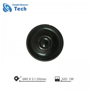 Free sample 45mm mylar speaker 32 ohm 1.5 watt small round speaker