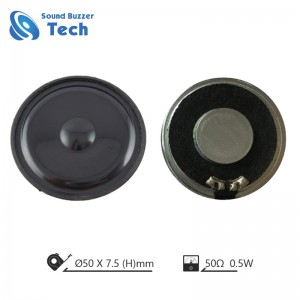 Factory direct sale 50mm mylar speaker 0.5 watt 50ohm loudspeaker