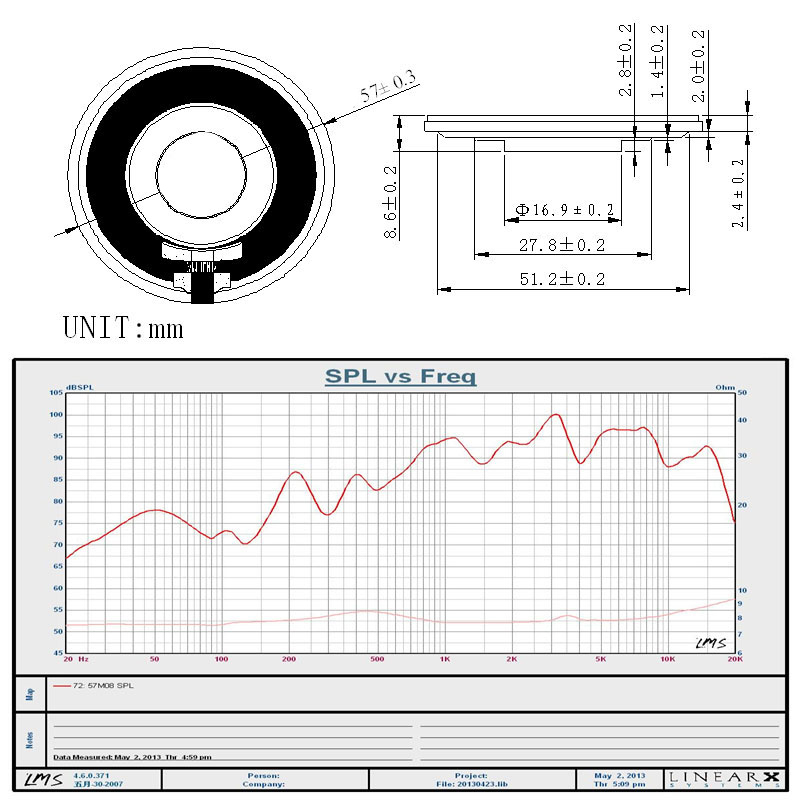 57mm speaker