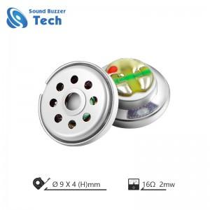 Full frequency headphone speaker parts 9mm 16ohm 0.03 watt headset loudspeaker unit