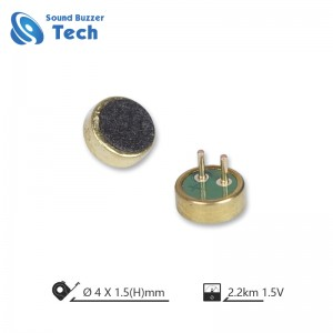 unit Electret Kondensator Mikropon karo pin kanggo mikropon ponsel 4.0 * 1.5mm